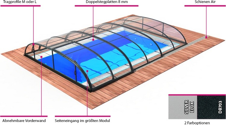 Pool-Komplettset / Swimmingpool-Set mit Überdachung Albixon Quattro Premium Dallas Clear A