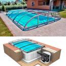 Pool-Komplettset Albixon Quattro Premium Dallas Clear mit Überdachung, Pool und Technikschacht 3,20 x 8 x 1,50m