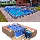 Pool-Komplettset Albixon Quattro Premium Dallas Clear mit Überdachung, Schwimmbecken und Technikschacht 3 x 6 x 1,50m