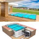 Pool-Komplettset Albixon Quattro Premium Infinity Evo mit Überdachung, Pool und Technikschacht 3,20 x 8 x 1,50m