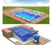 Pool-Komplettset Albixon Quattro Dallas Clear Uno+ mit Überdachung, Schwimmbecken und Technikschacht 3,50 x 7,00 x 1,20 / 1,50m