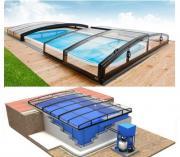 Pool-Komplettset Albixon G2 Quattro Infinity Uno+ mit Überdachung, Schwimmbecken und Technikschacht 3,50 x 7,00 x 1,20 / 1,50m