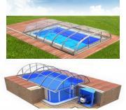 Pool-Komplettset Albixon Quattro B Dallas Clear mit Überdachung, Schwimmbecken und Technikschacht 3,45 x 8,00 x 1,50m