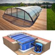 Pool-Komplettset Albixon Quattro Premium Dallas mit Überdachung, Schwimmbecken und Technikschacht 3 x 6 x 1,50m