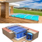 Pool-Komplettset Albixon Quattro Premium Infinity Evo mit Überdachung, Schwimmbecken und Technikschacht 3 x 6 x 1,50m