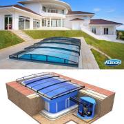 Pool-Komplettset Albixon Quattro Premium Infinity mit Überdachung, Schwimmbecken und Technikschacht 3 x 6 x 1,50m