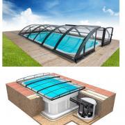 Pool-Komplettset Albixon Quattro Premium Klasik Clear mit Überdachung, Pool und Technikschacht 3,20 x 8 x 1,50m