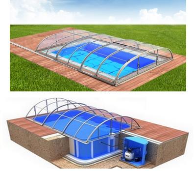 Pool-Komplettset Albixon Quattro A Dallas Clear mit Überdachung, Schwimmbecken und Technikschacht 2,70 x 6,00 x 1,50m