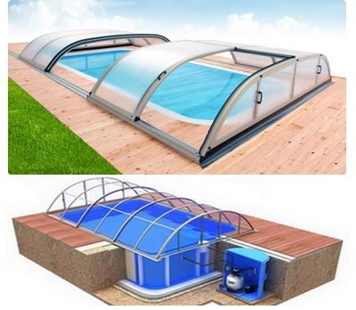 Pool-Komplettset Albixon Quattro A Dallas mit Überdachung, Schwimmbecken und Technikschacht 2,70 x 6,00 x 1,50m