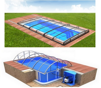 Pool-Komplettset Albixon Quattro B Infinity Evo mit Überdachung, Schwimmbecken und Technikschacht 3,45 x 8,00 x 1,50m