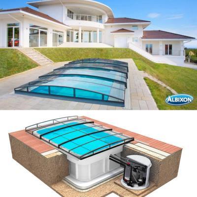Pool-Komplettset Albixon Quattro Premium Infinity mit Überdachung, Pool und Technikschacht 3,20 x 8 x 1,50m