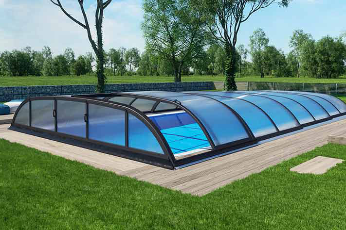 Albixon Dallas A 363x635cm Pool-Überdachung / Schwimmbad-Überdachung