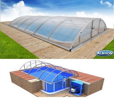 Pool-Komplettset Albixon Quattro A Klasik mit Überdachung, Schwimmbecken und Technikschacht 2,70 x 6,00 x 1,50m