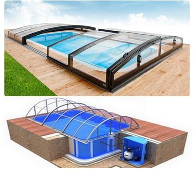 Pool-Komplettset Albixon Quattro B Infinity mit Überdachung, Schwimmbecken und Technikschacht 3,45 x 8,00 x 1,50m