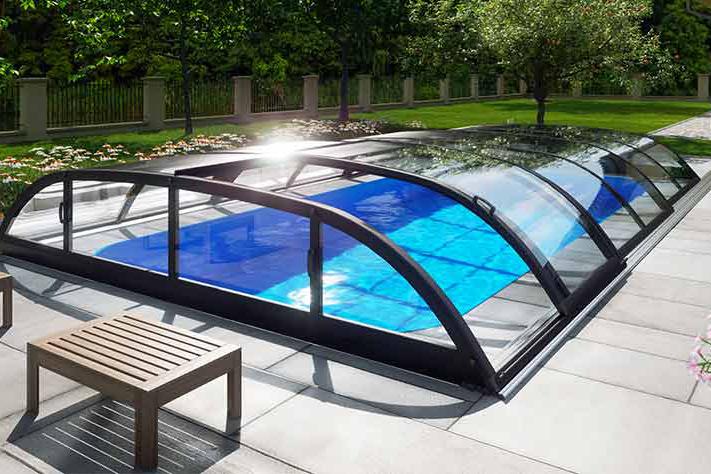 Pool-Überdachung / Poolabdeckung Albixon Dallas Clear A 363x635cm
