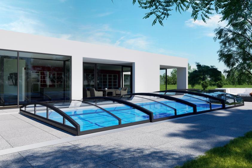 Pool-Überdachung / Poolabdeckung Albixon Casablanca Infinity B 446x850cm