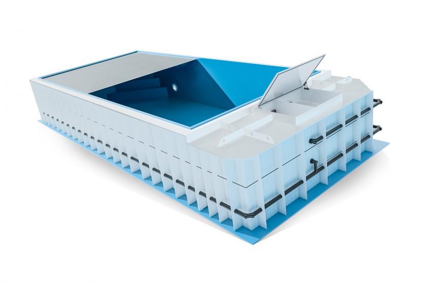 Pool-Komplettset Premium ONE® mit Skimmer-Fertigpool 3,00 x 6,00m und optional elektrischem Rollo / Poolabdeckung