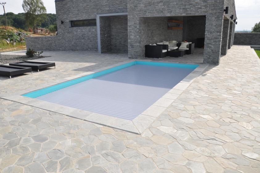 Pool-Komplettset Premium ONE® mit Skimmer-Fertigpool 3,30 x 7,00m und optional elektrischem Rollo / Poolabdeckung