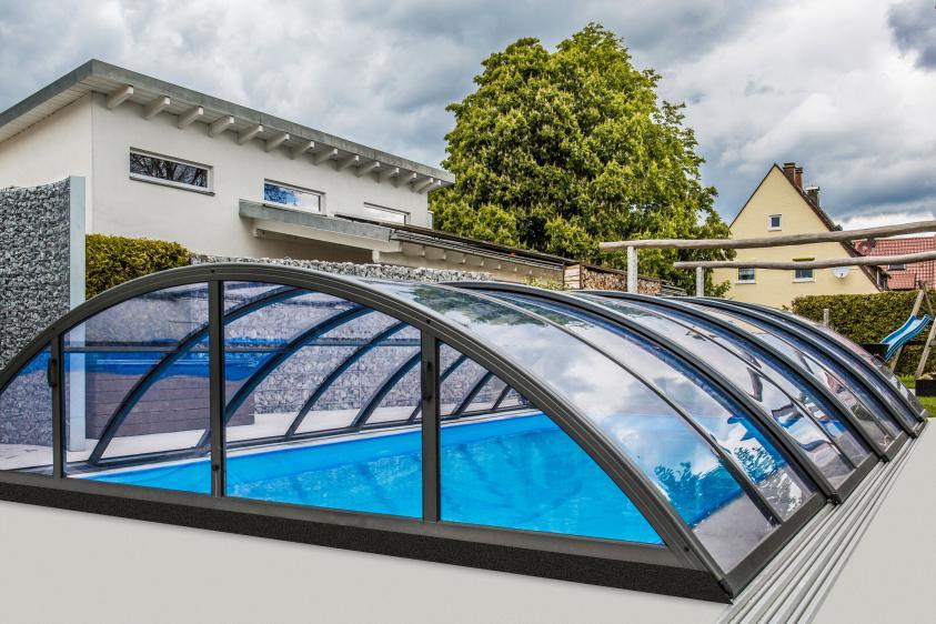 Pool-Überdachung / Poolabdeckung Albixon Klasik Clear B 415x850cm