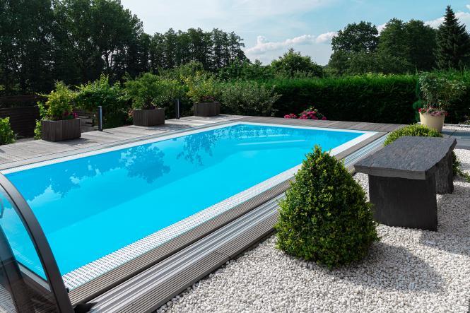 Pool-Komplettset G2 mit Überlauf-Schwimmbecken 3,00 x 8,00m und optionaler  Poolüberdachung / elektrischem Rollo